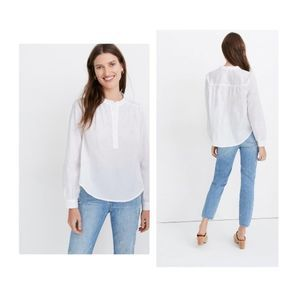Madewell Shirred Popover Longsleeve Top Small NWT
